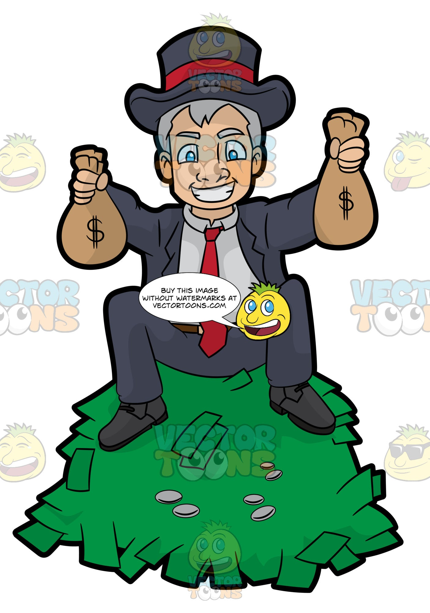 A Man Sitting On Top A Pile Of Cash And Holding Money Bags In His Hands