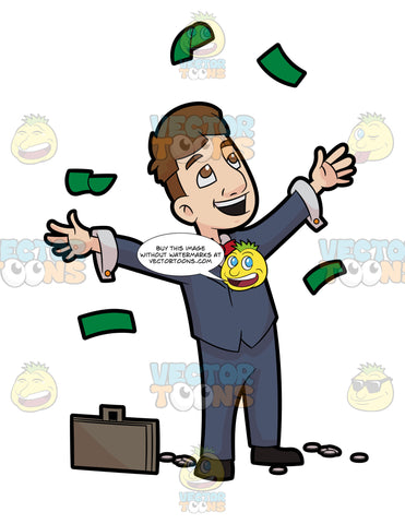 A Man Throwing Away Money In Happiness