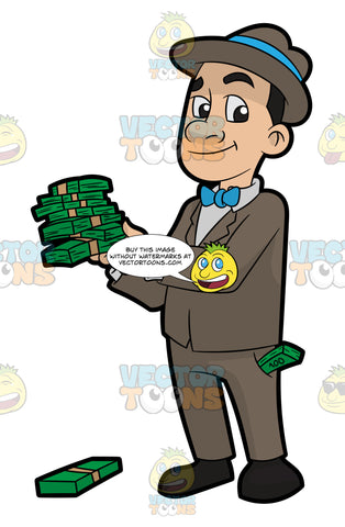 A Man Holding Several Bundles Of Cash In His Hands