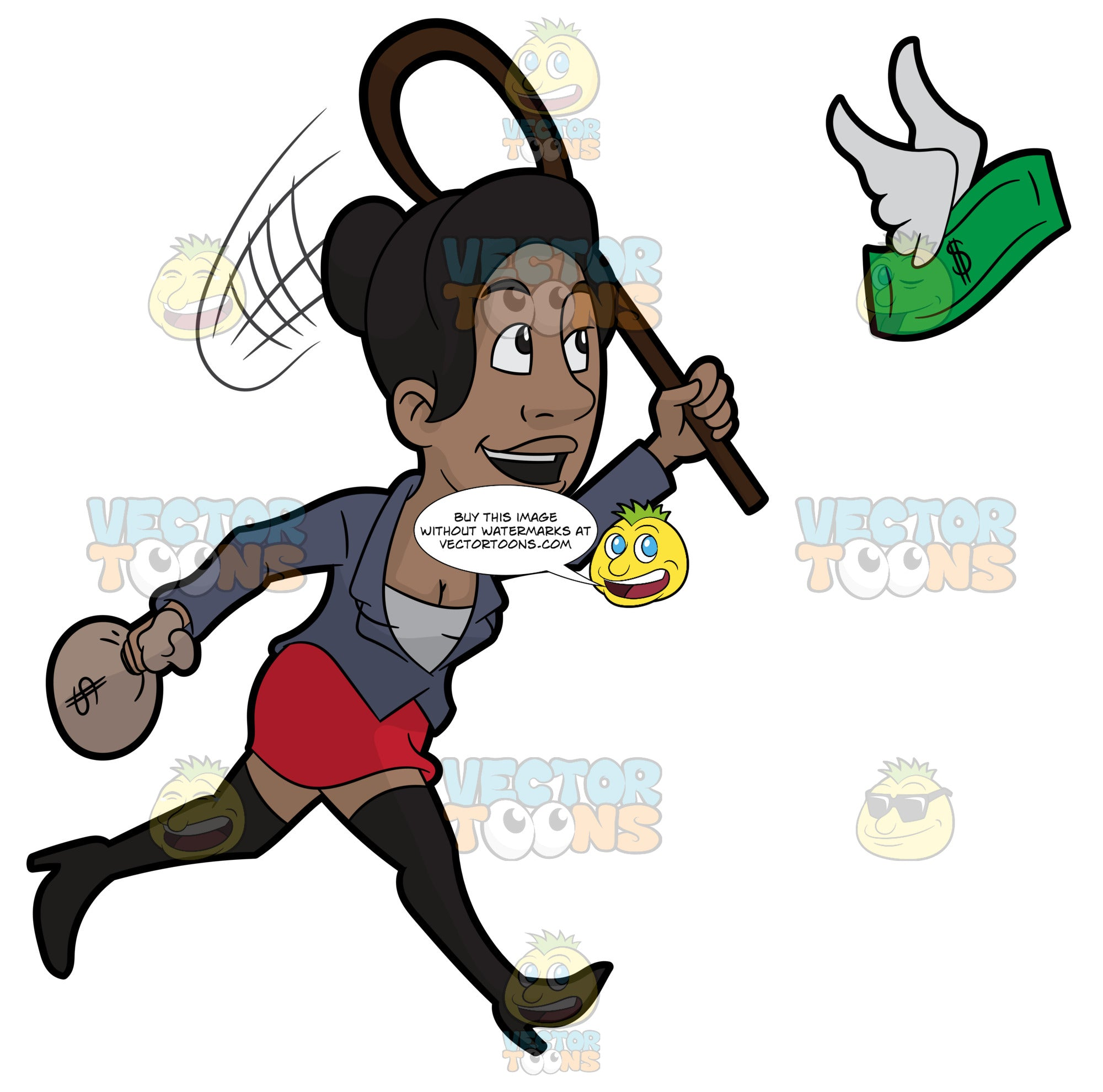 A Black Woman Trying To Catch Flying Money With A Net