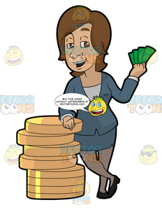 A Woman Standing Next To A Big Stack Of Coins