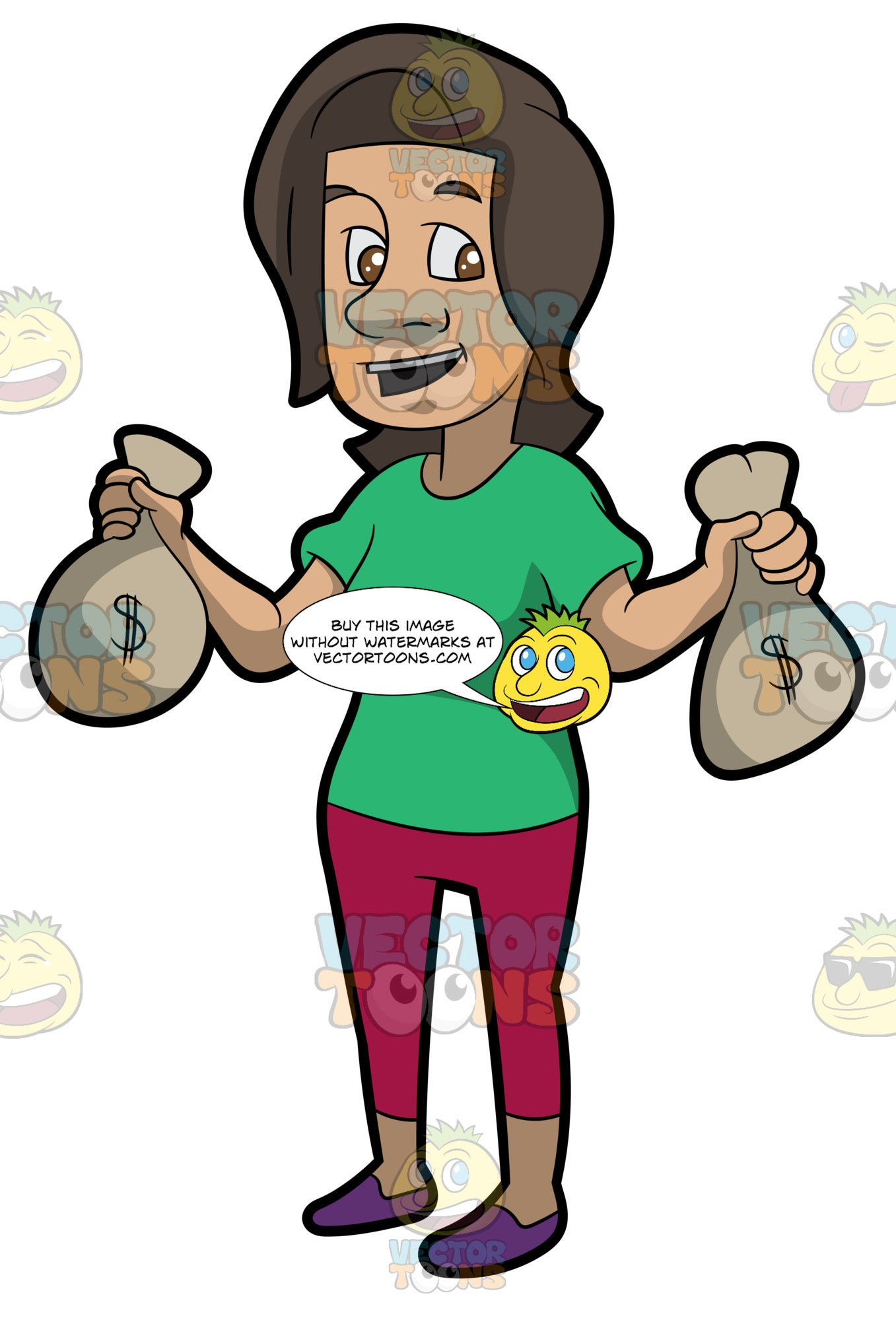A Brunette Woman Holding Bags Of Money In Her Hands