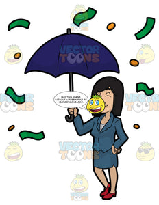 A Woman Standing Under An Umbrella As Money Rains Down On Her