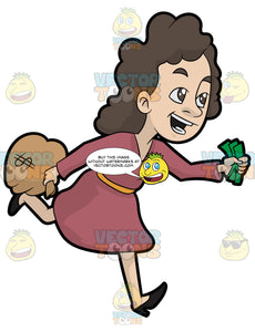 A Woman Running Away With Her Money
