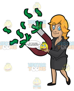A Woman Holding A Money Magnet