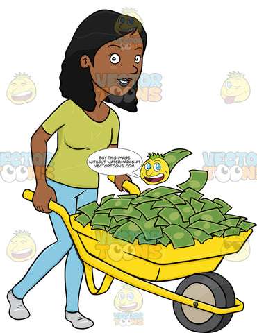 A Dark Haired Woman Transporting A Pile Of Cash Using A Wheel Barrow