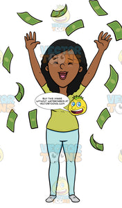 A Dark Haired Woman Enjoying Her Money Spree Throwing It Up In The Air