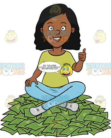 A Dark Haired Woman Sitting On A Pile Of Cash