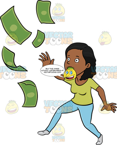 Worried Dark Haired Woman Chasing Her Money
