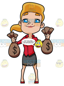 Happy Woman Carrying Bags Of Money