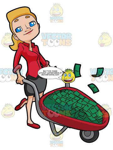 Woman Proudly Pushing A Wheel Barrow Full Of Cash