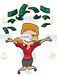 Cheerful Woman Throws Money Into The Air