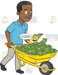 Smiling African American Man Holding A Wheel Barrow Full Of Cash