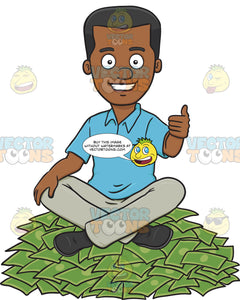 Happy Man Sitting On Top Of A Money Pile