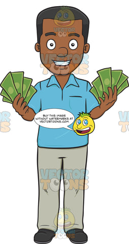 Happy Man Showing Off His Money