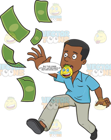 Man Hurrying To Chase After His Money