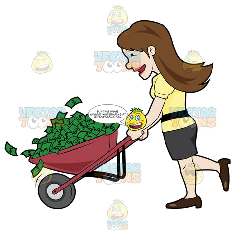 Happy Woman Holding A Wheel Barrow Full Of Cash