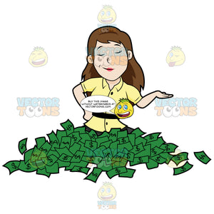 Woman Sitting On A Pile Of Cash