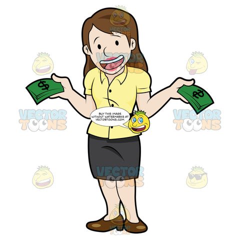 Joyful Female Showing Off A Bunch Of Cash