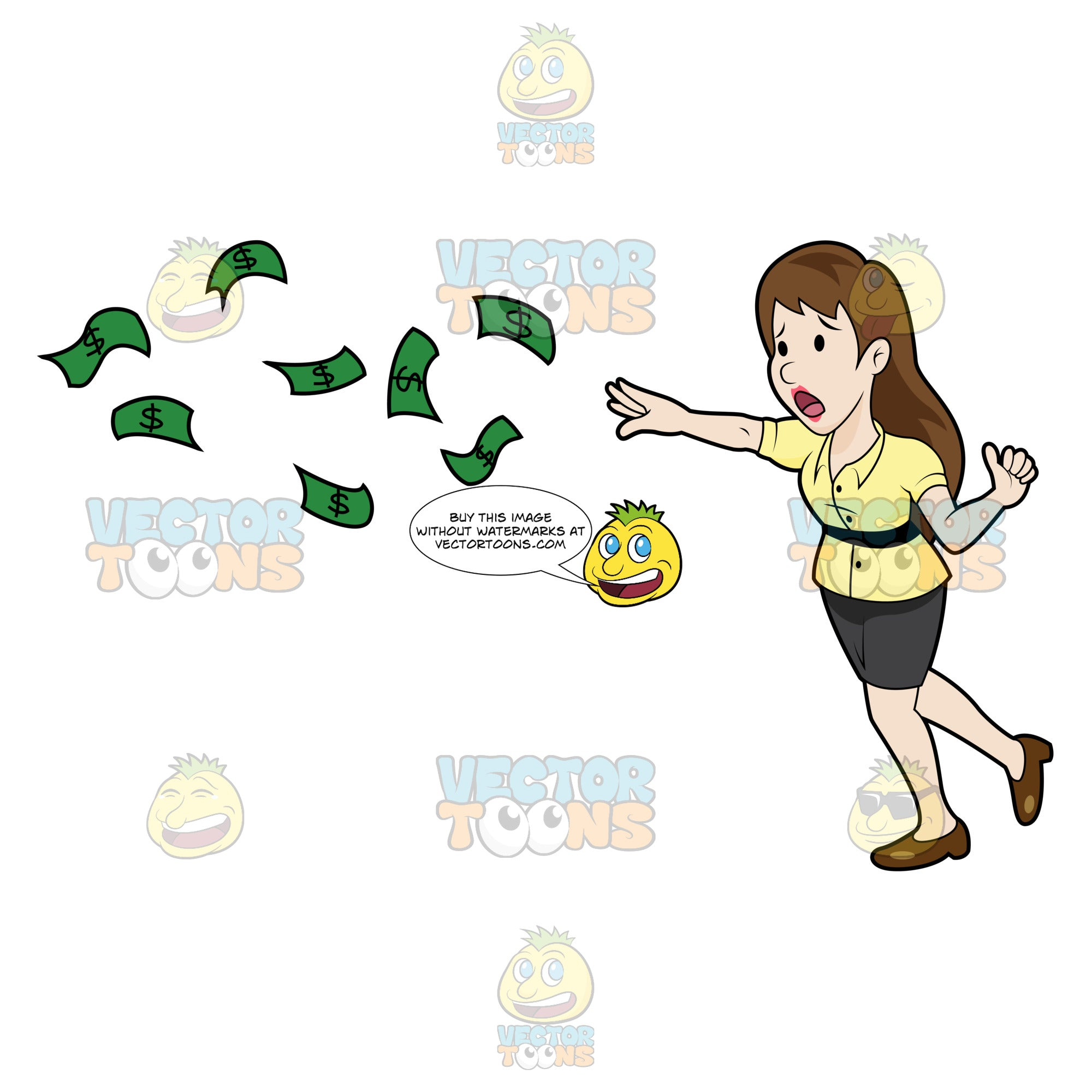 Panicking Young Woman Chasing Her Money
