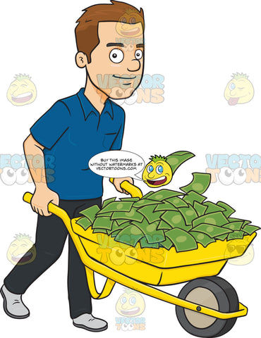 Smiling Man Holding A Wheel Barrow Full Of Cash