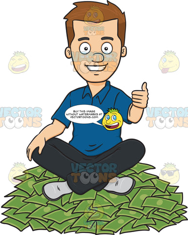 Satisfied Man Seated On Top Of Money Pile