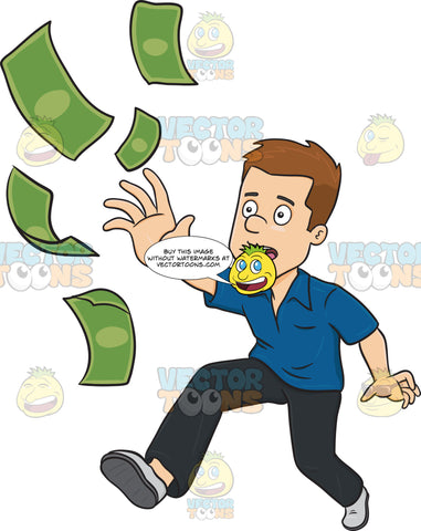 Worried Man Chasing Money