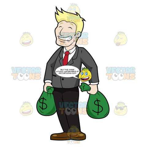Laughing Man Carrying Bags Of Money