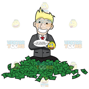 Happy Guy Sitting With A Bunch Of Money On Floor