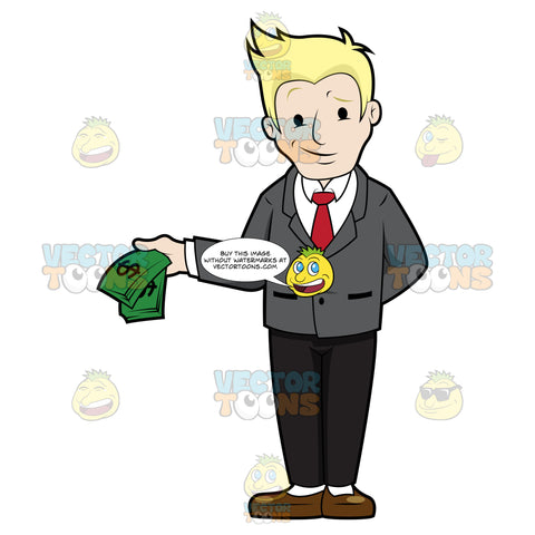 Man With Smirk Holding Money