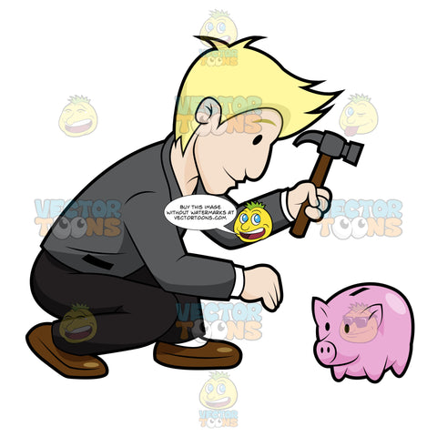 Man With Hammer Hitting A Piggy Bank