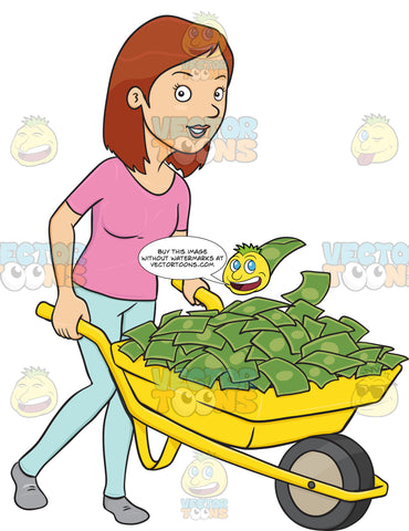 Satisfied And Smiling Woman Holding On To A Wheel Barrow Full Of Cash