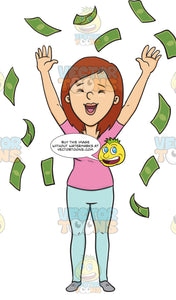 Ecstatic Female Enjoying The Rain Of Money