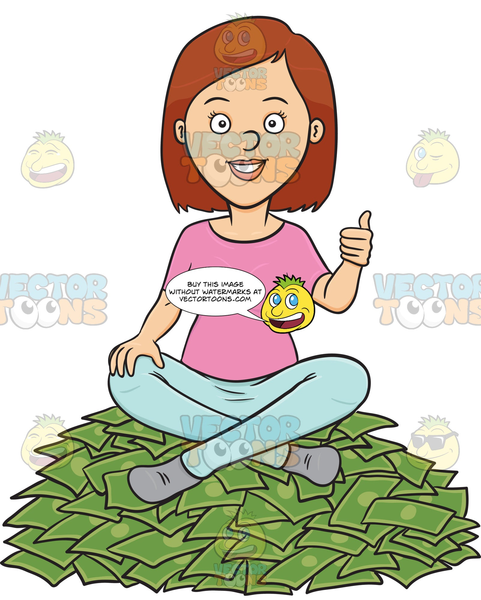 Satisfied Female On Top Of Cash Pile