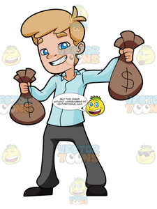 Encouraged Young Man Carrying Sacks Of Money