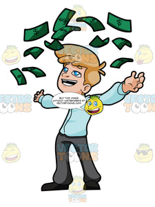 Happy Young Man Throwing Money Into Air