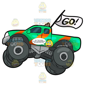 A Fast Monster Truck. A monster truck with four huge dark gray tires, green with striped orange body paint, and a white flag that says go