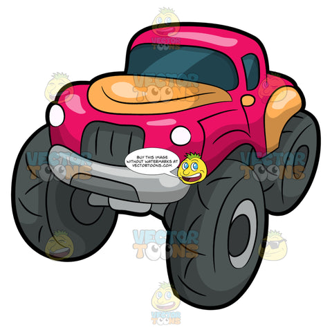 A Classic Monster Truck. A monster truck with four huge dark gray tires, pink with orange body paint, gray grills and two headlamps