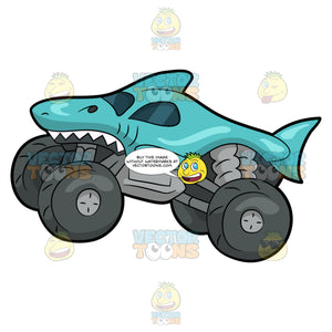 A Shark Shaped Monster Truck. A monster truck with four huge dark gray tires, teal shark body and paint with sharp white teeth