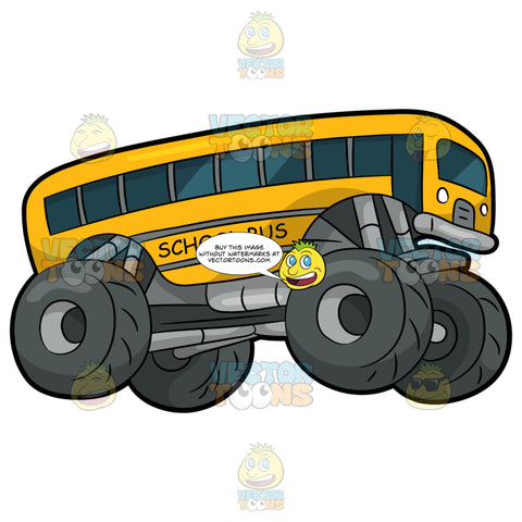 A School Bus Monster Truck. A monster truck with four huge dark gray tires, and a body of a yellow school bus with dark grayish blue tinted windows