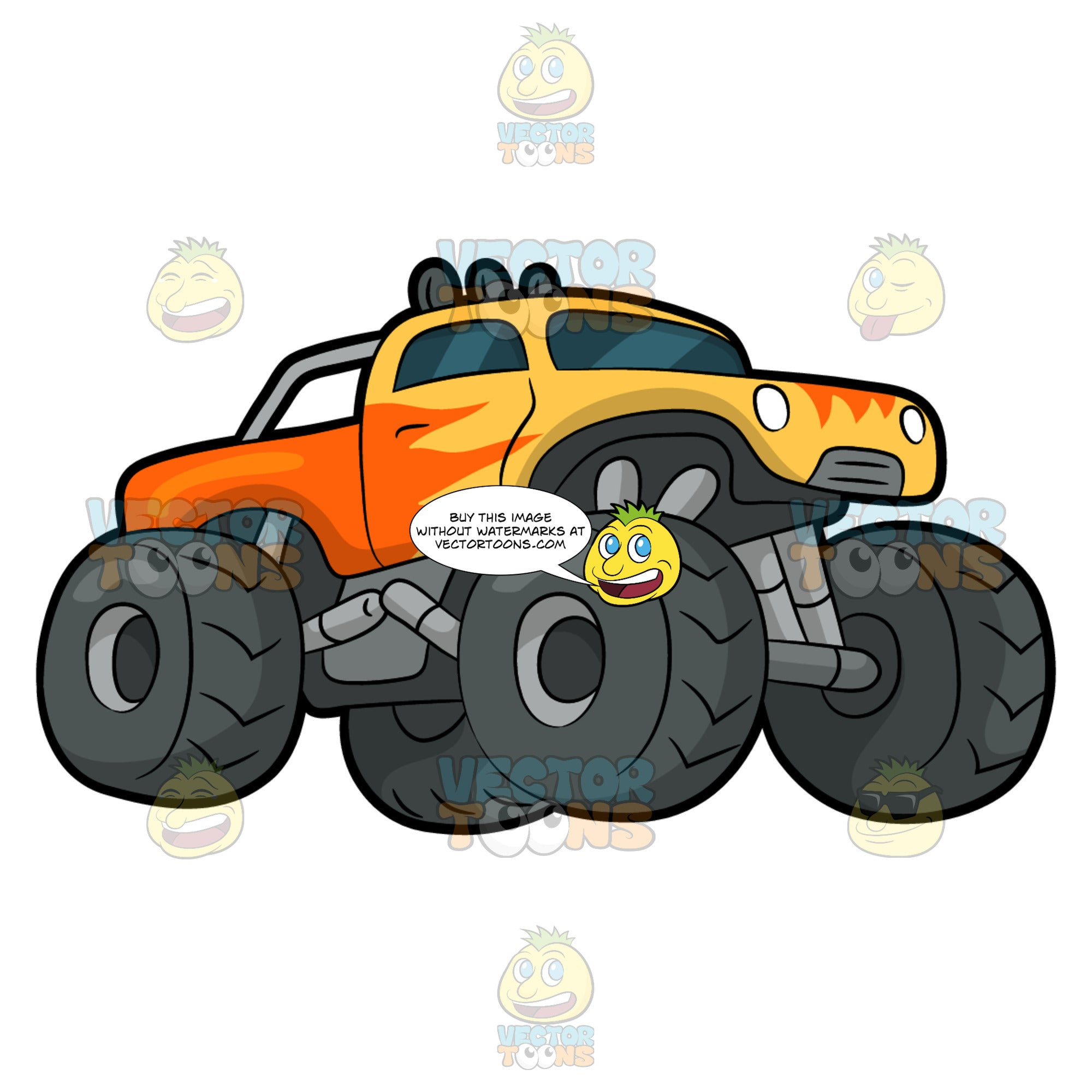 A Hot Rod Monster Truck. A monster truck with four huge dark gray tires, with a yellow and orange hot rod body paint, as well as overhead lamps