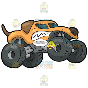 A Mad Dog Shaped Monster Truck. A monster truck with four huge dark gray tires, with a body sculpted like an angry dog, painted in orange, brown and white