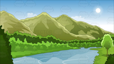 Mountains And River Background
