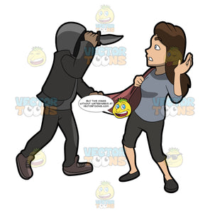 A Man Mugging A Woman With A Knife