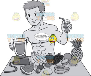 Muscular Guy Preparing A Healthy Drink