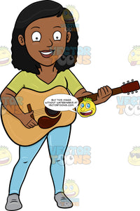 A Cheerful Black Woman Playing A Classic Guitar