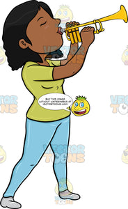 A Black Woman Blowing Into A Trumpet
