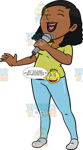 A Black Woman Singing Cheerfully Into A Microphone
