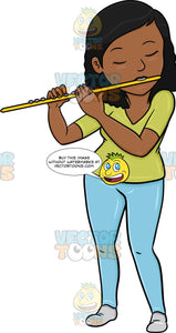 A Black Woman In Deep Concentration And Passion While Playing The Flute