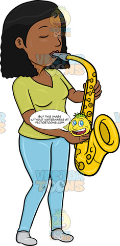 A Black Woman In Serious Concentration While Blowing Into A Saxophone